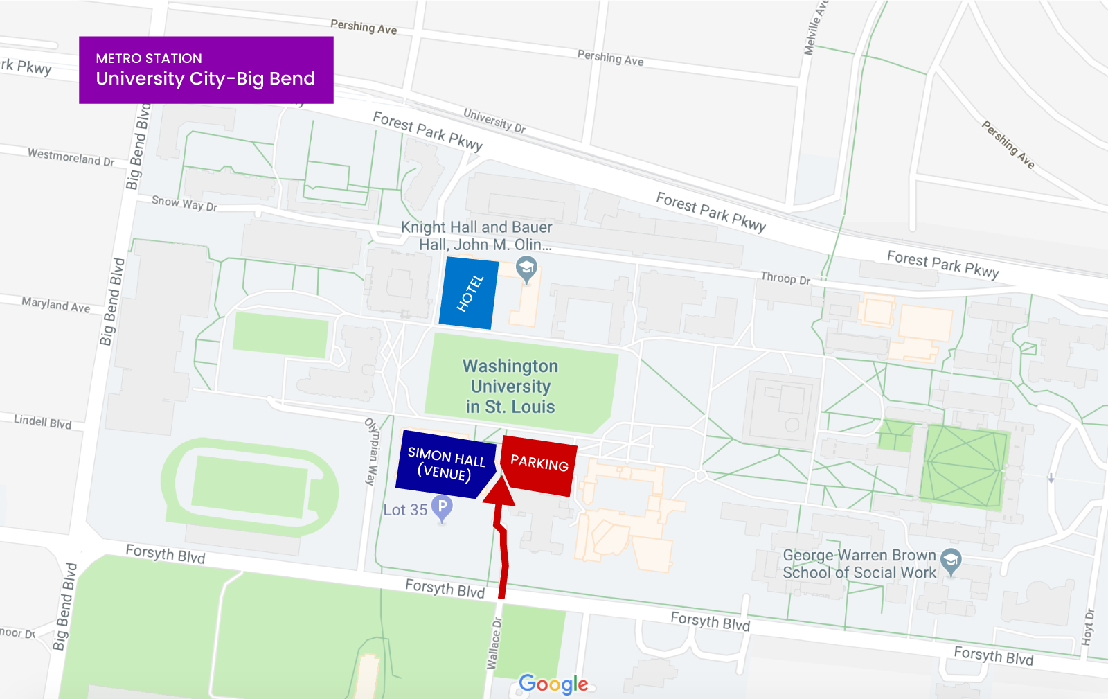 A map of campus, showing the location of Simon Hall related to parking, the on-campus hotel, and the nearest metro strop.